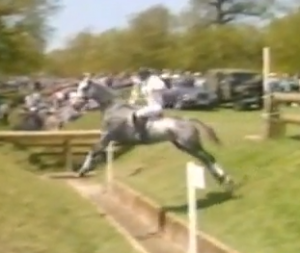Murphy bouncing over the ditch at the fearsome Coffin at Burghley. Most horses shuffled a stride in...