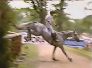 The infamous Road-Crossing. I've never seen a horse travel so far in a bounce! Landing...