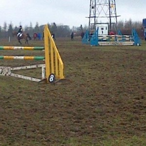 The show-jumping ring, with the upright we tipped in the foreground. It rode surprisingly well!