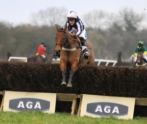 Jacqueline Coward riding her Cheltenham Foxhunters hero Amicelli. Photo John Grossick/AGA Point to point.