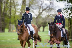 Pippa Funnell and Izzy Taylor on their way to the dressage.
