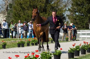 Robert Meyerhoff and Dunlavin's Token.  First Horse Inspection. Rolex Kentucky Three Day Event 2014.